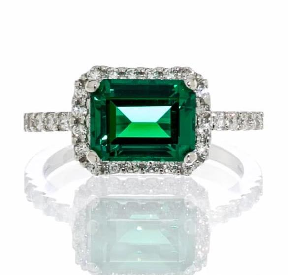 cubic zirconia | faux emerald halo engagement ring images | Boutique CZ