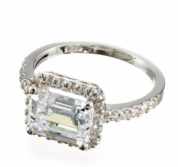 cubic zirconia | emerald cut halo engagement ring image | Boutique CZ