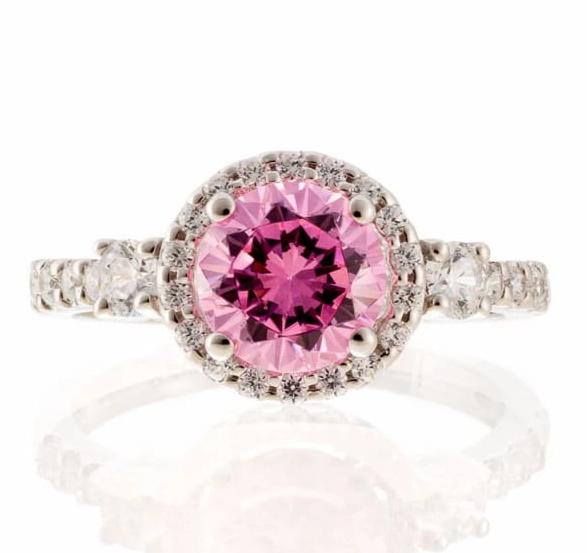 cubic zirconia | round pink CZ halo ring images | Boutique CZ