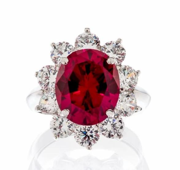 FANCY FAUX RUBY CUBIC ZIRCONIA ENGAGEMENT RING