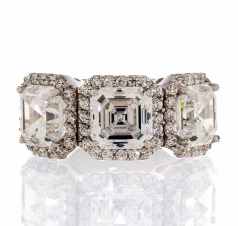 cubic zirconia | asscher cut three stone halo ring images | Boutique CZ
