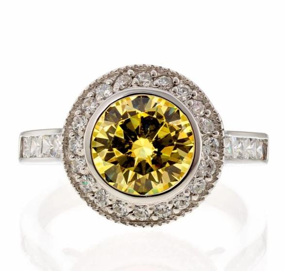 cubic zirconia | bezel set canary halo ring image | Boutique CZ