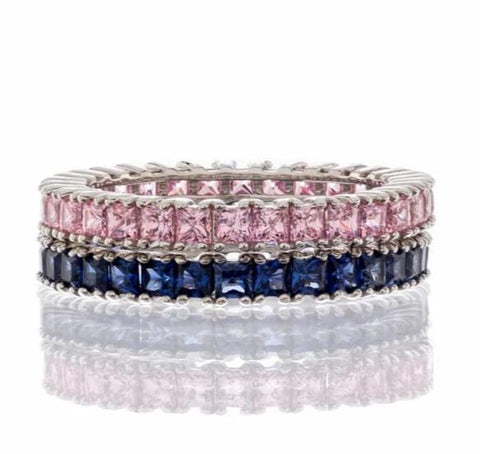 cubic zirconia | princess cut gemstone CZ eternity band image | Boutique CZ