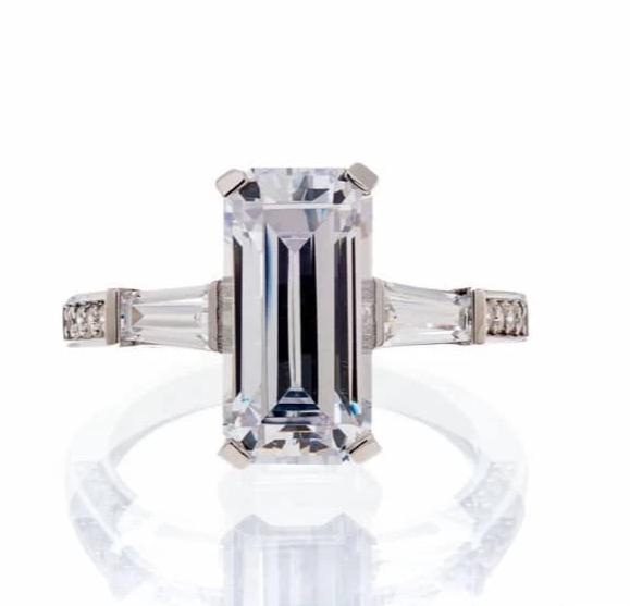 cubic zirconia | 6 carat emerald cut engagement ring image  | Boutique CZ