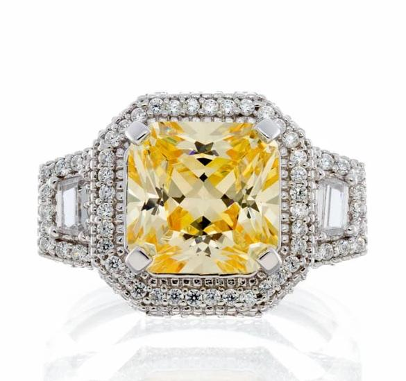 cubic zirconia | princess cut fancy halo ring image | Boutique CZ