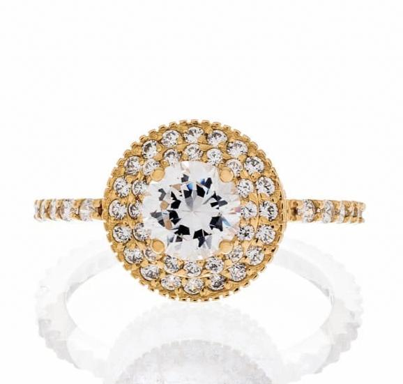 Cubic Zirconia | Triple Halo Engagement Ring Images | Boutique CZ