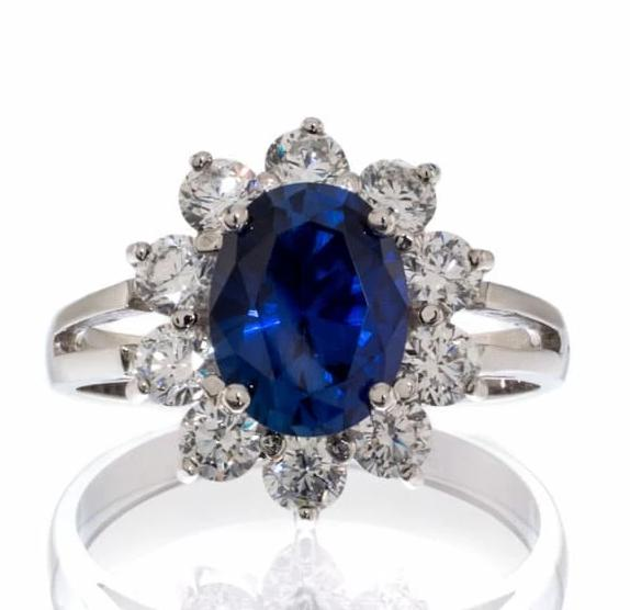 cubic zirconia | faux sapphire princess inspired ring image | Boutique CZ