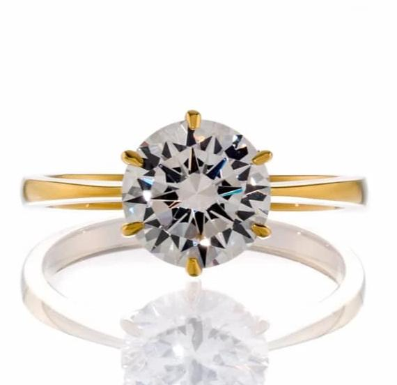 cubic zirconia | classic round solitaire engagement ring images | Boutique CZ