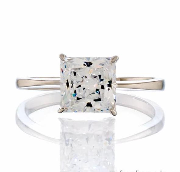 cubic zirconia | princess cut solitaire engagement ring image | Boutique CZ