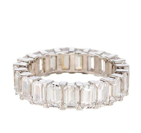 cubic zirconia | emerald cut eternity band images | Boutique CZ