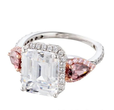 EMERALD CUT FANCY PINK FAUX DIAMOND ACCENT ENGAGEMENT RING