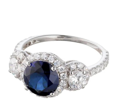 FAUX SAPPHIRE CUBIC ZIRCONIA THREE STONE HALO ENGAGEMENT RING