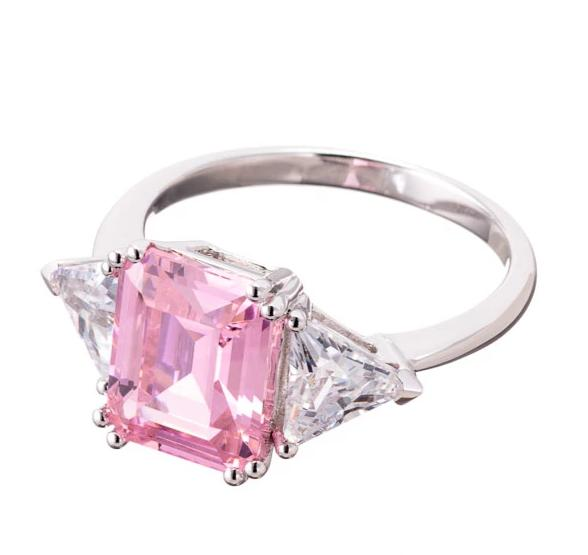 rings | pink CZ emerald cut engagement ring image| Boutique CZ
