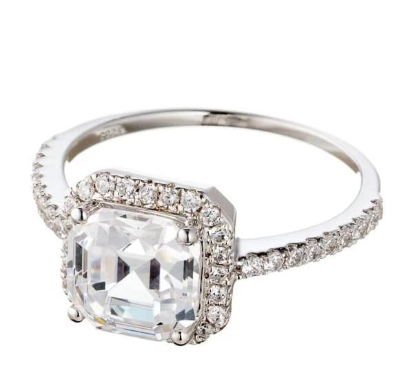 CLASSIC ASSCHER CUT CUBIC ZIRCONIA HALO ENGAGEMENT RING