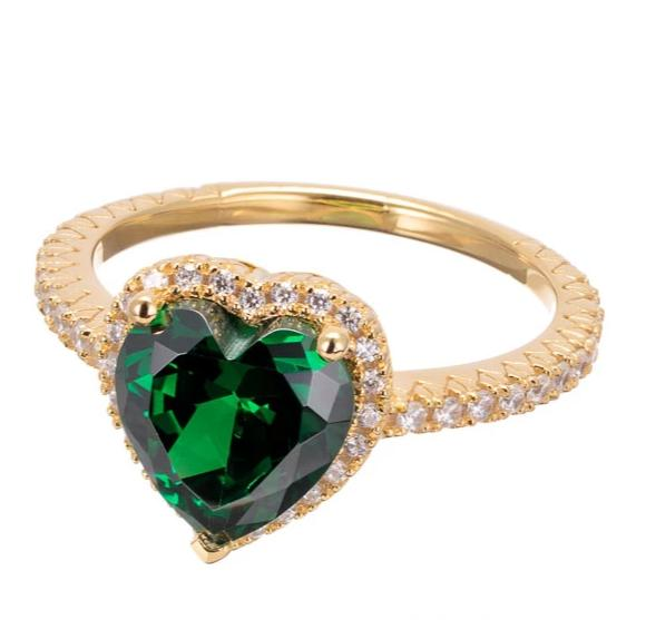 green emerald CZ heart cut ring images | cubic zirconia | Boutique CZ