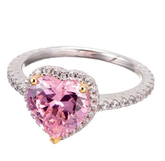 faux pink diamond CZ heart cut ring image | engagement rings | Boutique CZ