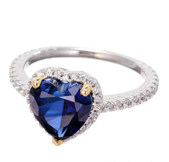 faux blue sapphire CZ heart cut ring image | engagement rings | Boutique CZ