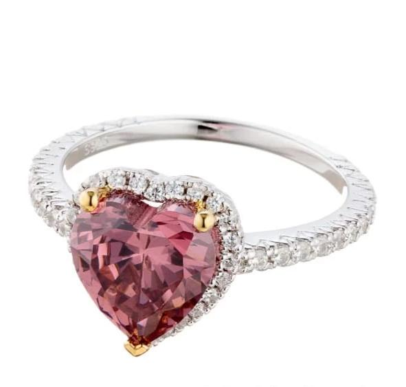 faux fancy pink CZ heart cut ring image | engagement rings | Boutique CZ