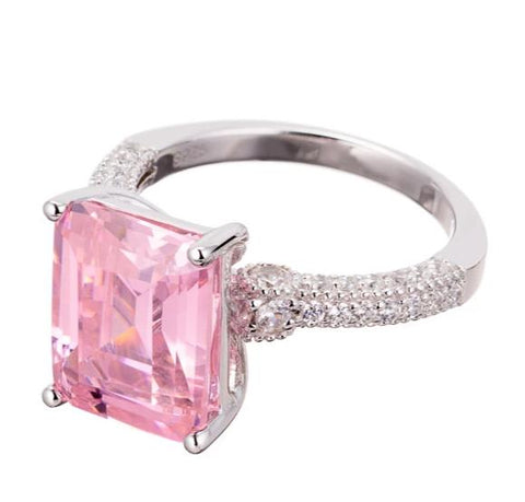 rings | faux pink diamond emerald cut engagement ring images | Boutique CZ