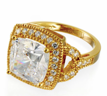 cubic zirconia | cushion cut engagement ring in yellow image | Boutique CZ