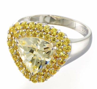 2 CARAT TRILLION CUT CANARY CUBIC ZIRCONIA HALO ENGAGEMENT RING