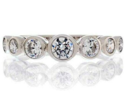 7 STONE BEZEL SET ROUND CUT CUBIC ZIRCONIA WEDDING BAND