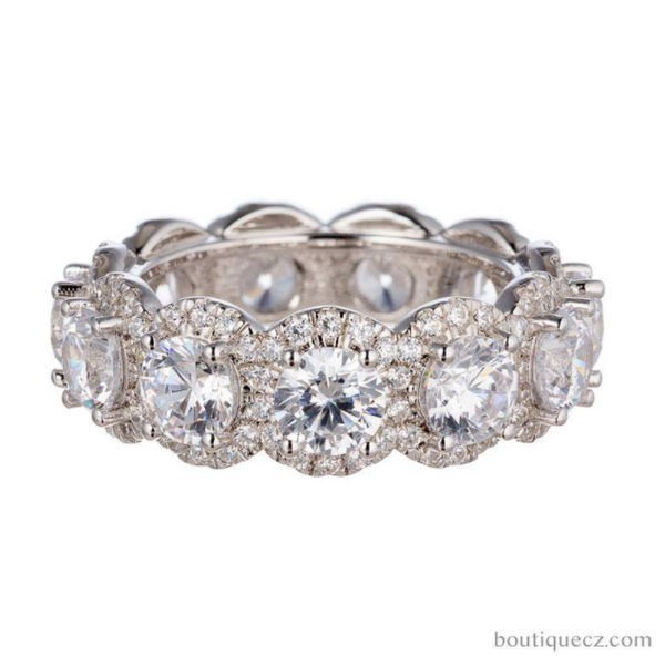 Brilliant Round Cut Cubic Zirconia Halo Eternity Band