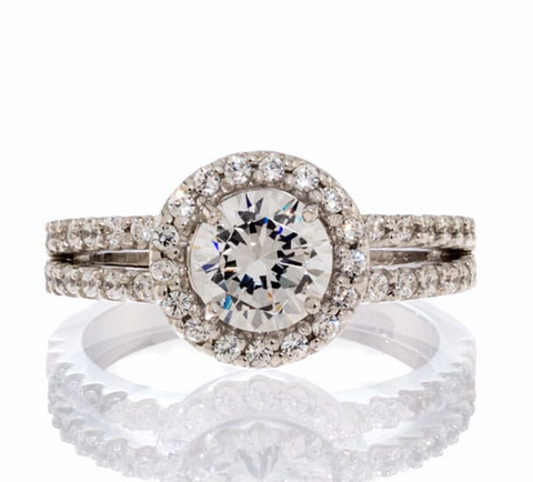 CUBIC ZIRCONIA | ROUND HALO SPLIT SHANK | ENGAGEMENT RING
