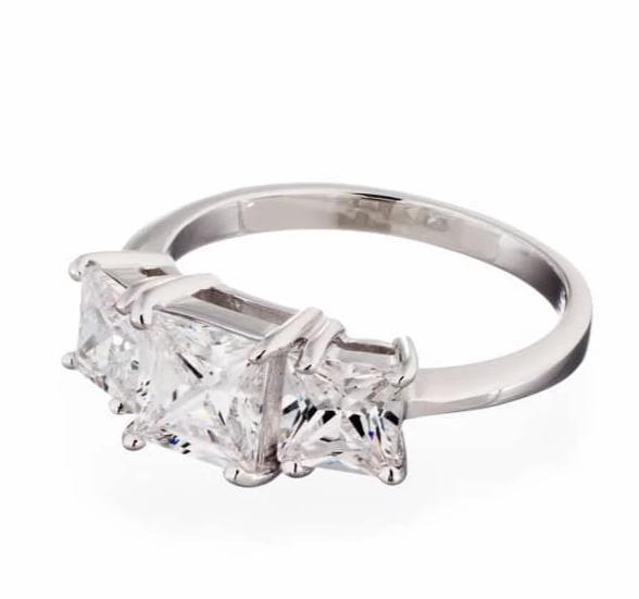 engagement rings | princess cut three stone image | Boutique CZ