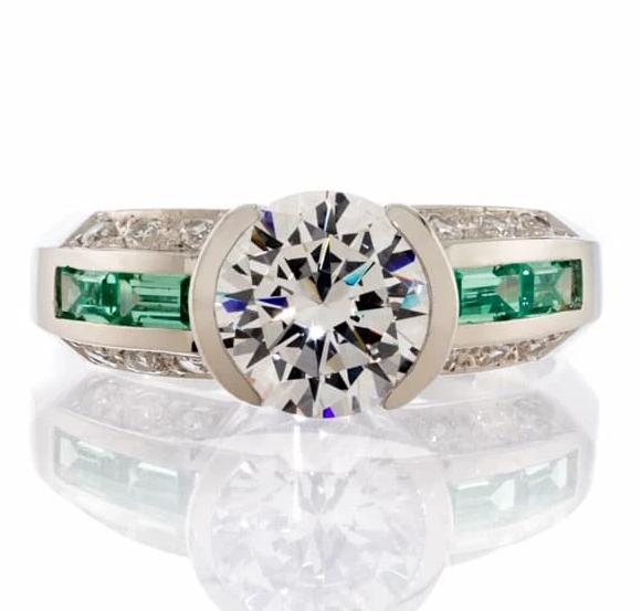 Cubic Zirconia Rings | Faux Emerald Accent Ring Image | Boutique CZ
