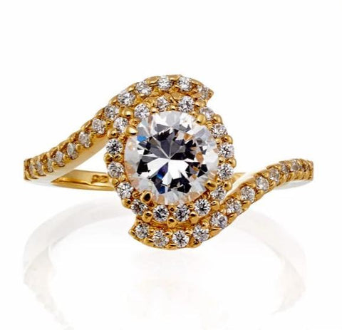 ONE CARAT CUBIC ZIRCONIA SCROLLING HALO ENGAGEMENT RING