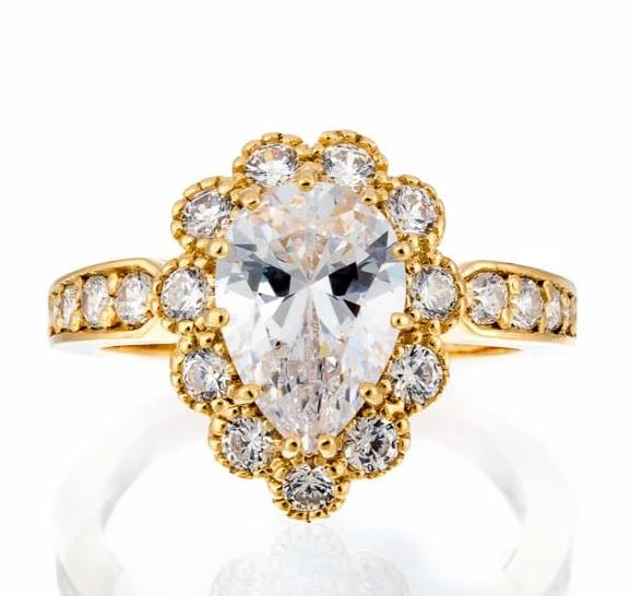 Cubic Zirconia | Vintage Pear Cut Halo Ring Images | Boutique CZ