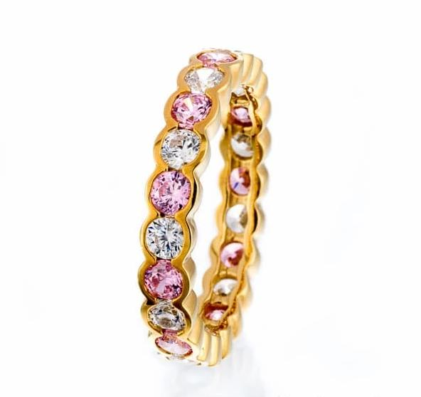 cubic zirconia | faux pink diamond eternity band images | Boutique CZ