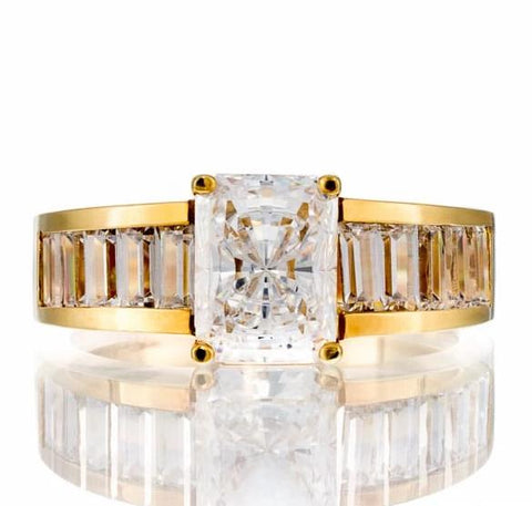 cubic zirconia | radiant baguette CZ engagement ring image | Boutique CZ
