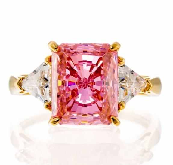cubic zirconia | pink CZ radiant cut engagement ring images | Boutique CZ