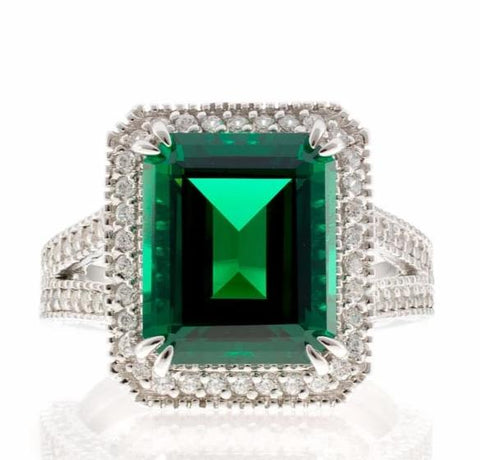 cubic zirconia | fancy faux emerald ring images | Boutique CZ