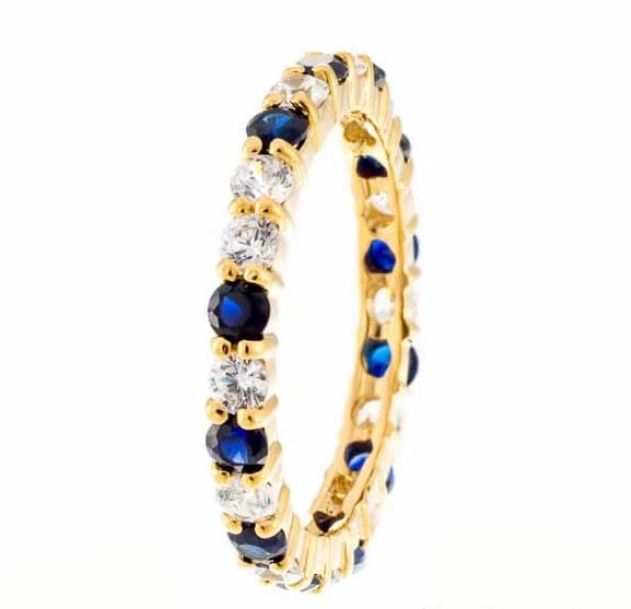 cubic zirconia | petite faux sapphire eternity band images | Boutique CZ