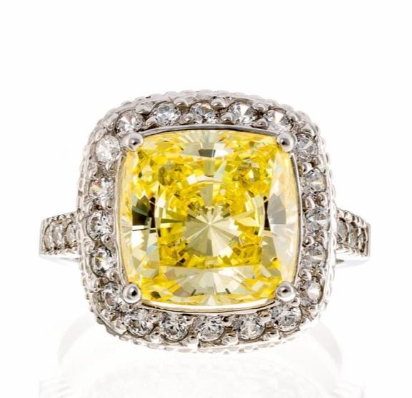 cubic zirconia | canary cushion cut halo ring | Boutique CZ