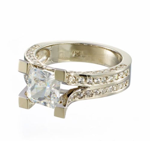 Carat Princess Cut Pave CZ Split Band Engagement Ring