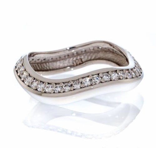 MODERN DESIGN PAVE CUBIC ZIRCONIA CHANNEL SET ETERNITY BAND IMAGE