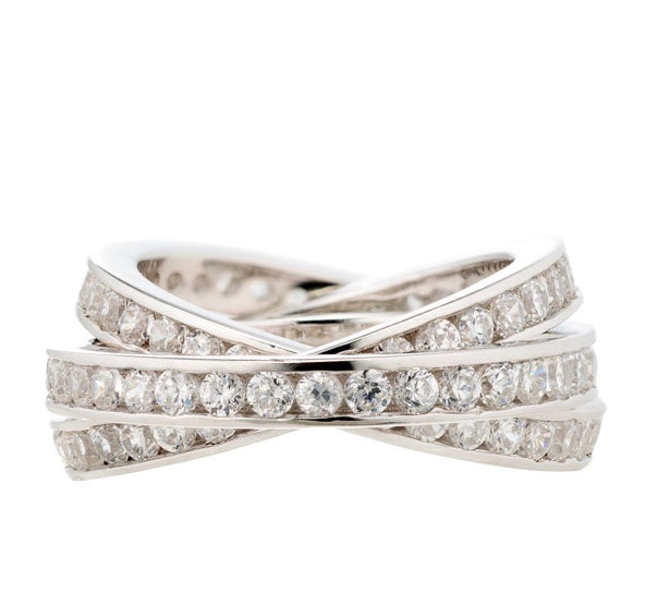 BRILLIANT ROUND CZ THREE INTERTWINING RING ETERNITY BAND SET