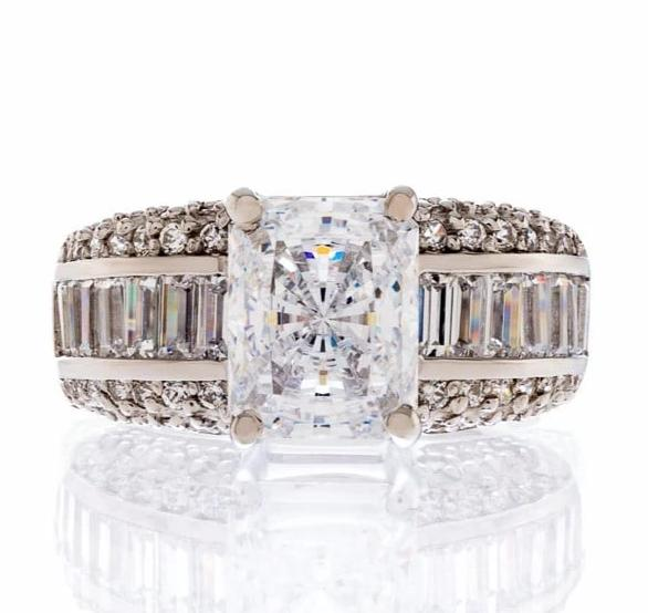 Cubic Zirconia Rings | Radiant Cut Triple Band Ring Images | Boutique CZ