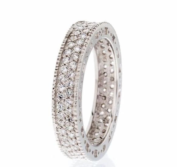 cubic zirconia | double pave eternity band images | Boutique CZ