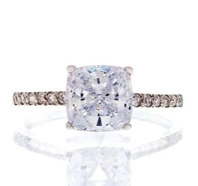 cubic zirconia | solitaire cushion cut pave ring image | Boutique CZ