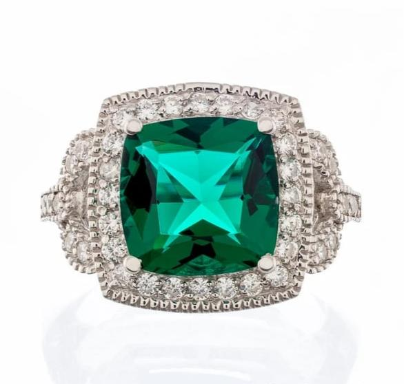 cubic zirconia | faux emerald cushion cut ring images | Boutique CZ
