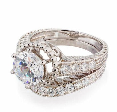 2 CARAT ROUND CUT CUBIC ZIRCONIA VINTAGE HALO ENGAGEMENT & WEDDING RING SET IMAGE