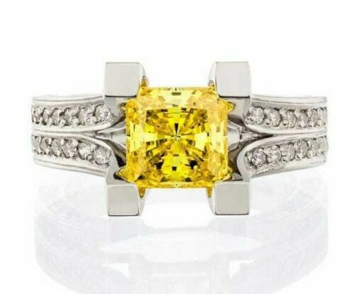 cubic zirconia | canary princess cut split shank engagement ring image | boutique CZ