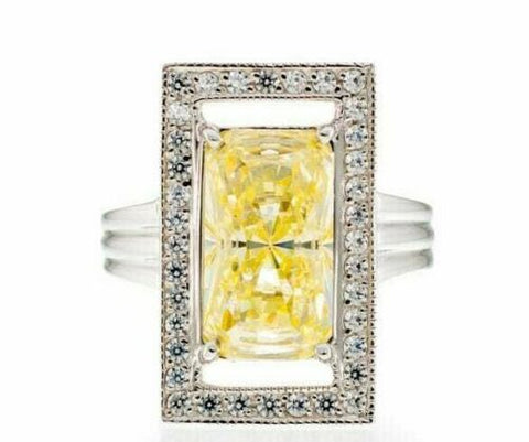 6 Carat Canary Radiant Cut Cubic Zirconia Engagement Ring Image
