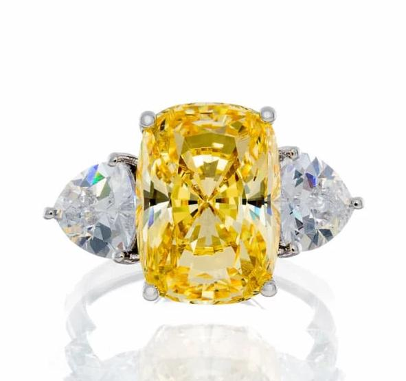 engagement rings | canary chunky cushion cut ring white sterling silver image | Boutique CZ