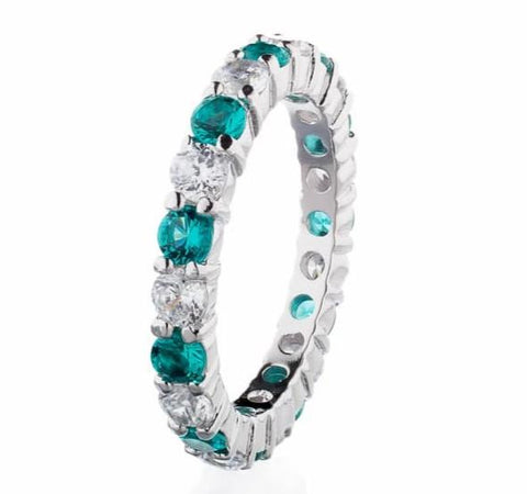 cubic zirconia | faux emerald gemstone eternity ring images | Boutique CZ